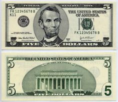 Hi all, recently received a 5 dollar bill 2006 series. It's non colorized I've noticed that pretty much every other 2006 5 dollar i have seen is the. 5 Dollar Bill, Dollar Money, 100 Dollar, Us Currency Bills, Abraham Lincoln, Printable Play Money, Money Template, Templates, Federal Reserve Note