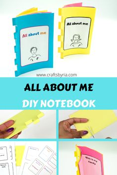 This all about me notebook is very easy for the kids to make and they can even make it with just 1 sheet of paper. The more the number of papers, the more pages you will get. Such a fun back to school craft idea for kids-preschoolers, kindergarteners, elementary school kids and tweens. Paper Crafts For Kids, Book Crafts, Kid Crafts, Kindergarten Activities, Activities For Kids, Learning Activities, Preschool Themes, Preschool Crafts, Diy Booklet