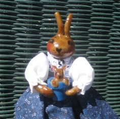 Rabbit Clothespin Doll with Baby Bunny in a Flower Pot. $15.00, via Etsy.