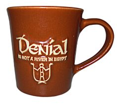 """Coffee Mug Egypt Nile Brown """"Denial Is Not A River"""" Raised Letters Recovery AA"""