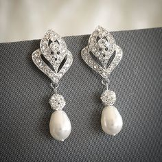 Bridal Earrings, Crystal Wedding Earrings, Swarovski Teardrop Pearl Stud Earrings, Art Deco Rhinestone Chandelier Bridal Earrings, LORNA
