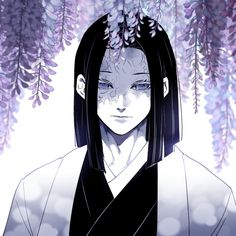 black and white, demon slayer, and flower image Anime Manga One Piece, Manga Anime, Anime Demon, Otaku Anime, Manga Art, Anime Guys, Anime Art, Demon Slayer, Slayer Anime