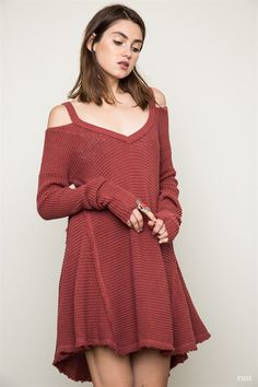 Soft & Cozy Knit Cold Shoulder Top Curvy Collection