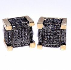 Black Diamond Earrings Large 10mm Wide 0.75ct 10K Yellow Gold Cube Shaped Screw Back