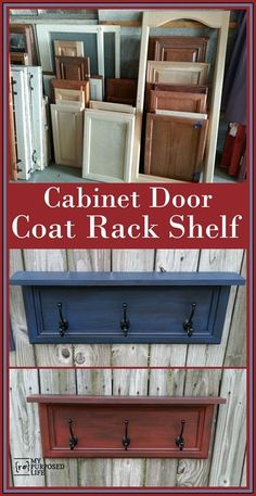 repurposed furniture Fun ways to repurpose cabinet doors by adding scrap wood and some coat hooks to make a rack for scarves, hats, jewelry and more. Cabinet Door Crafts, Old Cabinet Doors, Old Cabinets, Cabinet Door Makeover, Kitchen Cabinets, Furniture Projects, Furniture Makeover, Diy Furniture, Diy Projects