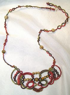 """""""Vision"""" tatted necklace in hand dyed thread by Yarnplayer on Flickr: Another version of my tatted necklace design which is featured in March/April 2008 """"Belle Armoire"""" magazine.  #tatting #jewelry"""