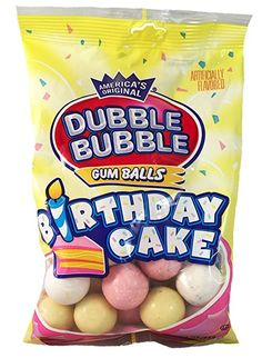 Dubble Bubble Birthday Cake Gum Balls 4 Oz Pack Of 3