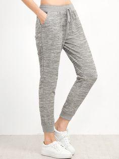 Grey Drawstring Waist Casual Pants