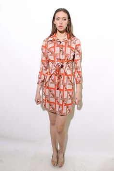 60s ESCHER shirt dress MOD geometric orange plaid pattern print star op art brown striped gown