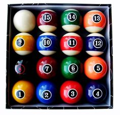 """Iszy Billiards Modern Style Pool Ball Set by Iszy Billiards. $46.83. Grade A deluxe quality 2 1/4"""" regulation size and weight - Made of polyester resin - 6 ounce balls - Modern style design balls - Price shown is for full set of balls including cue ball - Set comes boxed"""