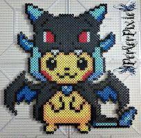 Pikachu in a Mega Charizard X Hoodie by PerlerPixie