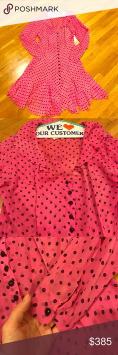 Ozbek Silk Polka Dot Dress 100% silk. Made in England. Says size medium but fits loose. It's a sheer and very light weight fabric in a bright fuchsia. Vintage authentic Ozbek. If you do not know the designer, please do some research. ozbek Dresses Midi