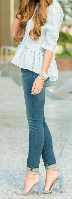 Blue Peplum Top, blue jeans and suede sandals heels. Fashionist style.