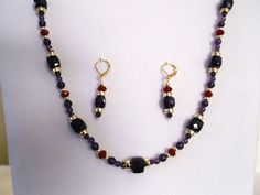 Natural Purple Amethyst Red Crystal Gold Necklace and Earrings Set Beaded Necklace, Gold Necklace, Beaded Bracelets, Necklaces, Gemstone Jewelry, Unique Jewelry, Purple Amethyst, Deep Purple, Earring Set