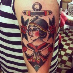 Beautiful lady in anchor by Jonas GBG Tattooing,Gothenburg