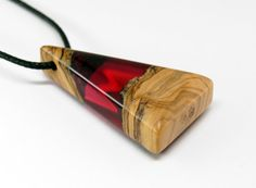 Wood Resin Pendant  Olive Wood  Red by MASSIVART on Etsy
