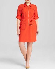 Michael Michael Kors Plus Roll Sleeve Belted Shirt Dress