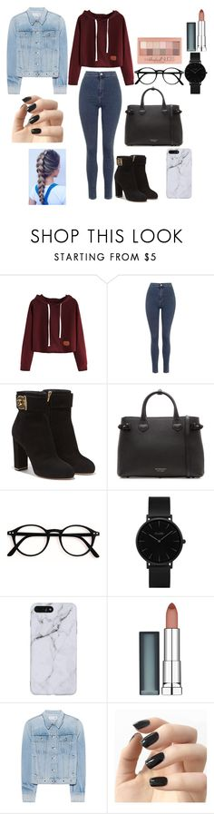 """Untitled #213"" by reka15 on Polyvore featuring Topshop, Salvatore Ferragamo, Burberry, CLUSE, Maybelline, rag & bone and Incoco"