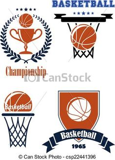 Vector - Basketball sporting symbols or logos - stock illustration, royalty free illustrations, stock clip art icon, stock clipart icons, logo, line art, EPS picture, pictures, graphic, graphics, drawing, drawings, vector image, artwork, EPS vector art