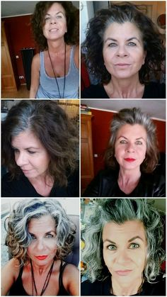 Gray hair don't care. Salt and pepper gray hair. White… Gray hair don't care. Salt and pepper gray hair. Grey Curly Hair, Silver Grey Hair, Curly Hair Styles, Natural Hair Styles, White Hair, Gray Hair Growing Out, Dying Your Hair, Grey Hair Journey, Silver Haired Beauties