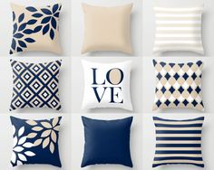 NAVY throw pillows, pillow covers, cushion cover, home decor, mix and match, navy beige white, love, floral, geometric, decorative pillows