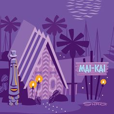 Hope to see you at the Mai Kai tonight! It's the world's last remaining Polynesian Palace style bar and restaurant. Tonight is the grand finale of the Hukilau, the world's most authentic tiki event. Vintage Tiki, Vintage Art, Tiki Art, Tiki Tiki, Tiki Hawaii, Polynesian Art, Tiki Lounge, Tiki Room, Tropical Art