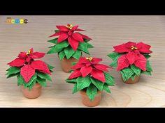 Miniature Paper Flower - Poinsettia ミニチュアの花 ポインセチア作り - YouTube