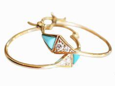 mociun triangle turquois & diamond hoop earrings