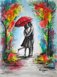 A Kiss In The Rain - Original Watercolor Painting - Rainy Landscape - Love Couple Under Umbrella - Romantic Painting By Gargovi