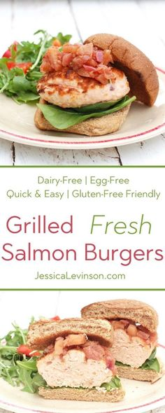 Quick and easy grilled fresh salmon burgers are full of flavor and nutrition. A great alternative to classic beef burgers for your summer barbecue! Get the egg-free, dairy-free, and gluten-free friendly recipe @jlevinsonrd.