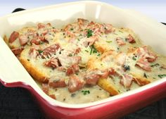 Biscuit and Gravy Casserole made with Johnsonville Andouille or Smoked Sausage