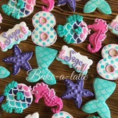 Tuesday, July 2018 (Day Happy Birthday Cookies July: 8 & 9 years old by 🎀 🇺🇸 Mermaid Theme Birthday, Little Mermaid Birthday, Little Mermaid Parties, Girl Birthday, Mermaid Party Food, Happy Birthday Cookie, Birthday Cookies, Lila Party, Mermaid Cookies