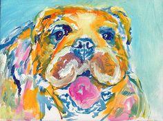 Bulldog, dog Painting ,English Bulldog ,dog art print, Colorful dog art orange blue pink print, British bulldog owner… #dogs #etsy #art