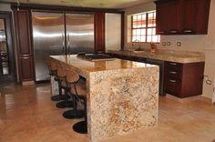 Cocina barra de granito / cuarso