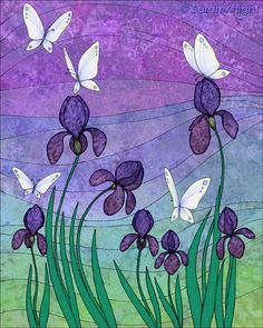 irises and butterflies - signed digital illustration art print 8X10 inches, purple violet flowers colorful
