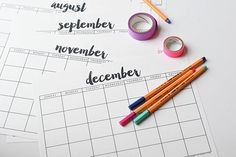 Free Printable Calendar from Thyme is Honey! Clean, simple design.