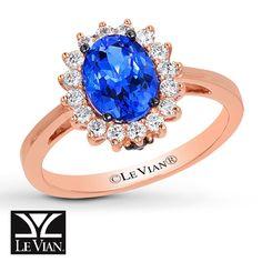 LeVian Tanzanite Ring 1/3 ct tw Diamonds 14K Strawberry Gold