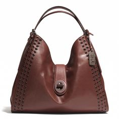 Madison Grommets Large Carlyle Shoulder Bag in Leather