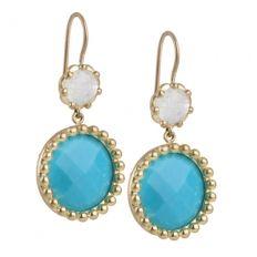 2 Beaded Circle Drop Earring - 18k Yellow Gold 2 Beaded Circle Drop Earring with Rainbow Moonstone and Turquoise $2,490.00 @Jamie Wolf