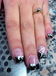 spooky by weesoby from Nail Art Gallery Holiday Nail Designs, Halloween Nail Designs, Holiday Nail Art, Halloween Nail Art, Toe Nail Designs, Halloween Projects, Holloween Nails, Seasonal Nails, Thanksgiving Nails