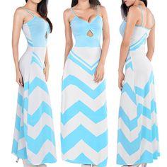 Spaghetti Strap Blue Stripes Print Ankle Length Dress