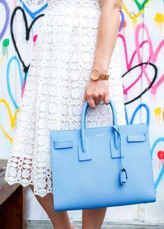 95c2138903 Blue Saint Laurent Sac de Jour Bag Lace Collar