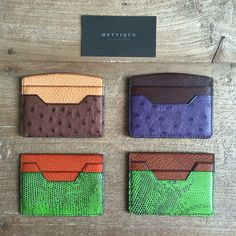 #METTIQUE #handstitch #leatheronly #METTIQUE Mini TL-S and TL-R card holders in #lizard and #ostrich with #Italian #cowhide lining, #handstitched with bees waxed thread. WWW.METTIQUE.COM