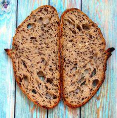 Vadkovászsuli: Gigamagos, lenmagos kovászos kenyér Bread, Food, Breads, Hoods, Meals, Bakeries