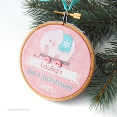 Personalized Baby's First Christmas Ornament 2015 Custom Elephant Pull Toy Holiday Ornament, baby girls, Baby First Christmas, baby gift by SeptemberHouse on Etsy https://www.etsy.com/listing/236266642/personalized-babys-first-christmas