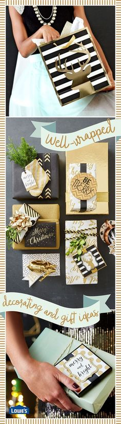 Use black and gold gift wrap for a stylish and sophisticated celebration. Go beyond the bow to embellish your gilded gifts. Mini stockings, a sprig of greenery, tiny ornaments, and even coasters give presents a special presence.