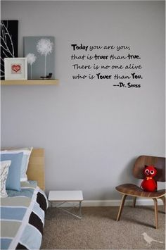 #2 Today you are you, that is truer than true. There is no one alive who is youer than you Dr. Seuss cute wall quotes sayings art vinyl decal by Epic Designs, http://www.amazon.com/dp/B007S773VW/ref=cm_sw_r_pi_dp_6wNNqb15DA9GF