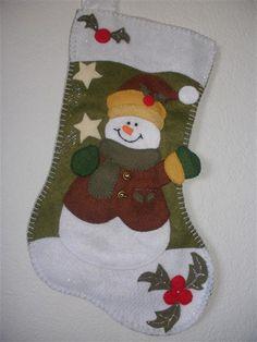christmas  felt snowman stocking set of two (girl and boy). $70.00, via Etsy.