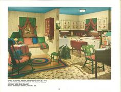 vintage 1940s kitchen and living room