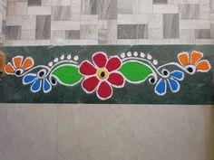 Rangoli Side Designs, Easy Rangoli Designs Diwali, Rangoli Designs Latest, Simple Rangoli Designs Images, Rangoli Borders, Rangoli Patterns, Free Hand Rangoli Design, Small Rangoli Design, Rangoli Ideas